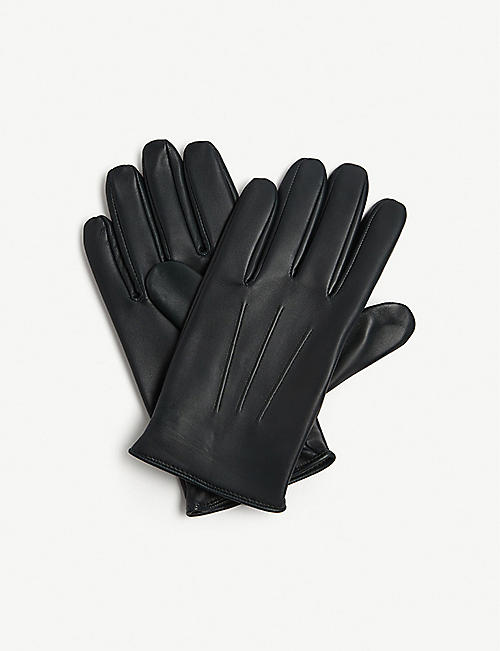 SANDRO Pleated leather gloves