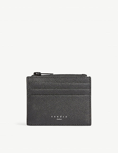 SANDRO: Logo leather card holder