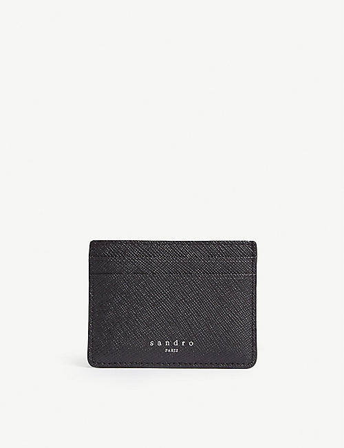 SANDRO Textured leather card holder