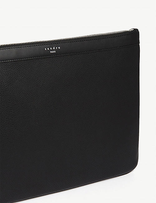 SANDRO Grained leather pouch