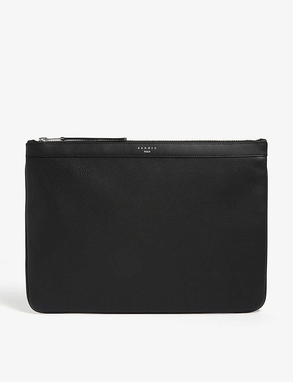 SANDRO: Grained leather pouch