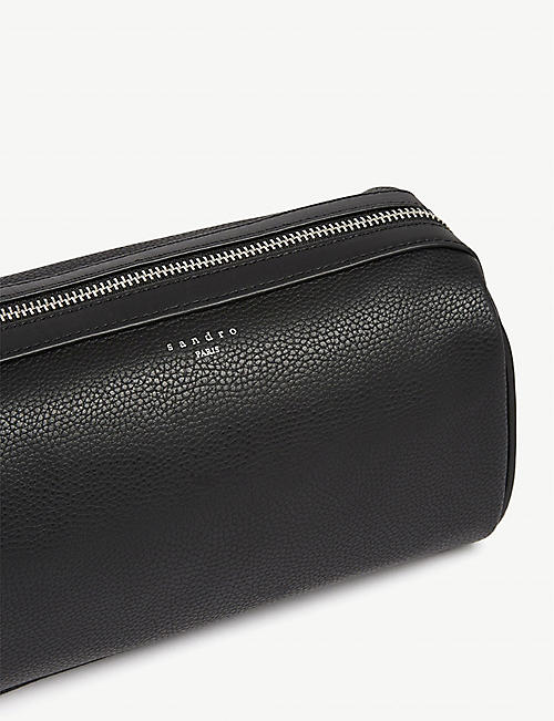 SANDRO Grained leather wash bag