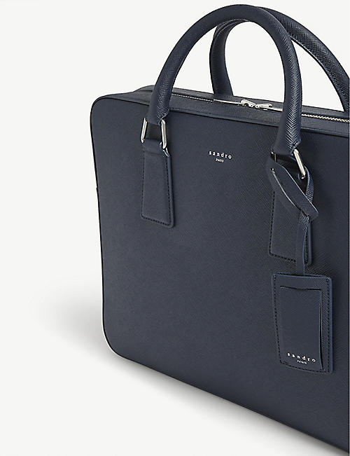 SANDRO Saffiano leather briefcase