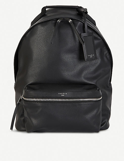 SANDRO: Grained leather backpack