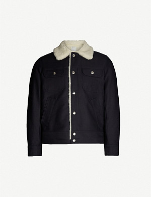 SANDRO Shearling boxy-fit cotton-twill jacket