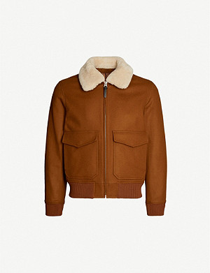 SANDRO Aviator zip-through shearling wool-blend jacket