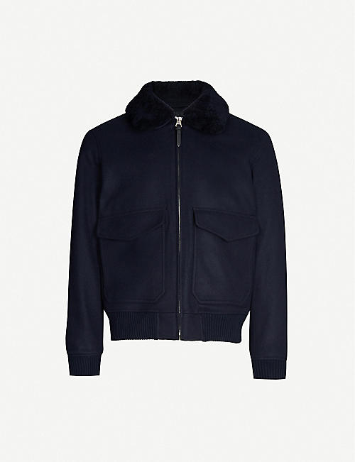 SANDRO: Aviator zip-through shearling wool-blend jacket