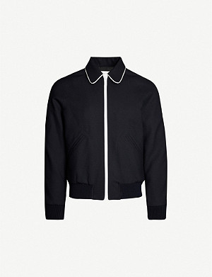 SANDRO Piped-trim wool-blend jacket