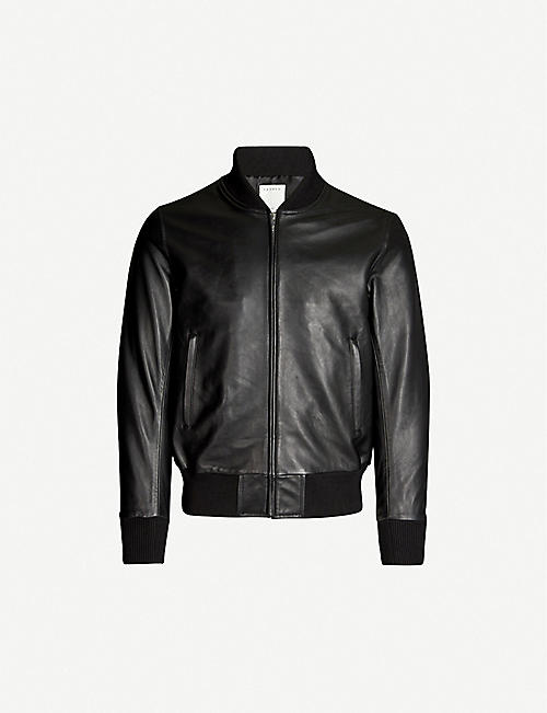 SANDRO: Leather bomber jacket