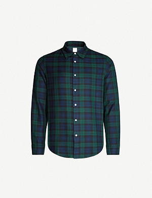 SANDRO Tartan slim-fit long-sleeved cotton shirt