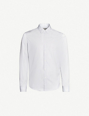SANDRO Striped classic-fit cotton-poplin shirt