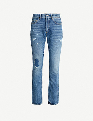 SANDRO Distressed straight-leg jeans