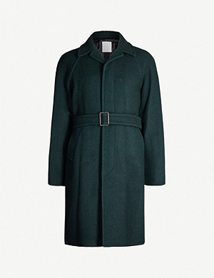 SANDRO Tie-belt wool-blend coat