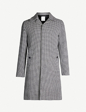 SANDRO Houndstooth-print single-breasted wool-blend coat