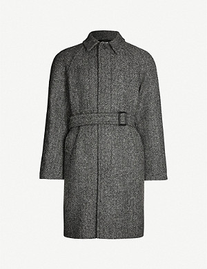 SANDRO Herringbone raglan-sleeved wool-blend coat
