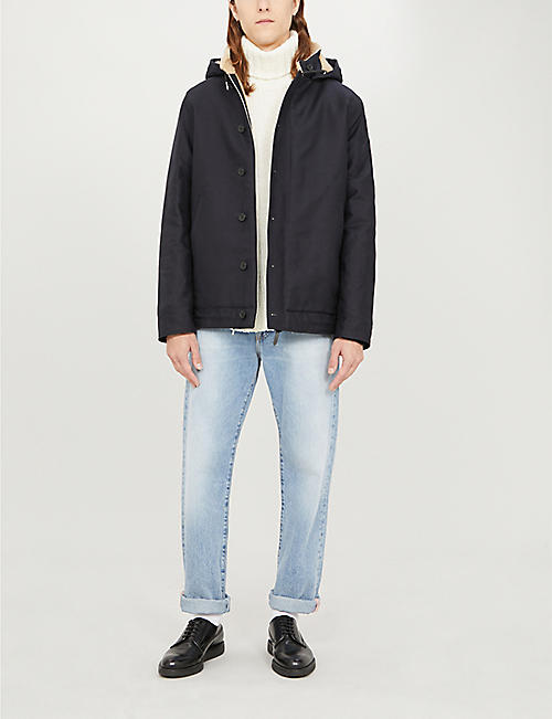 SANDRO Deck funnel-neck cotton-twill coat
