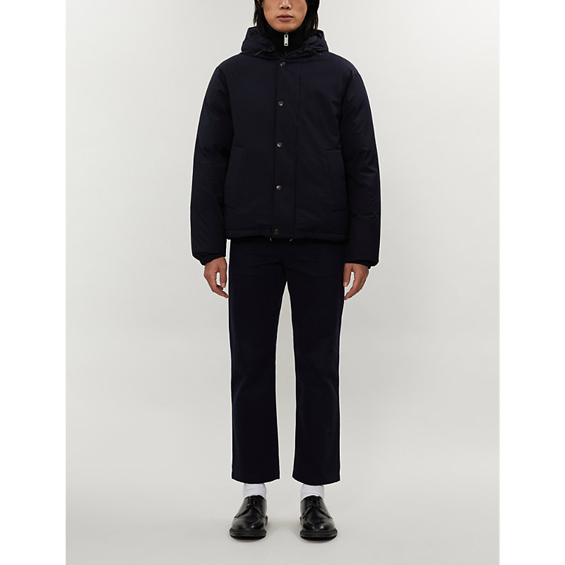 Sandro Padded Shell-Down Hooded Jacket In Navy Blue