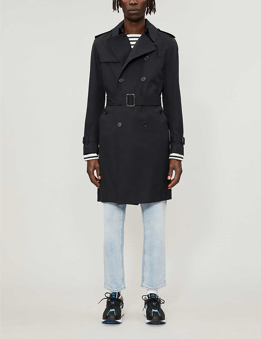 SANDRO: Magnetic belted double-breasted cotton coat