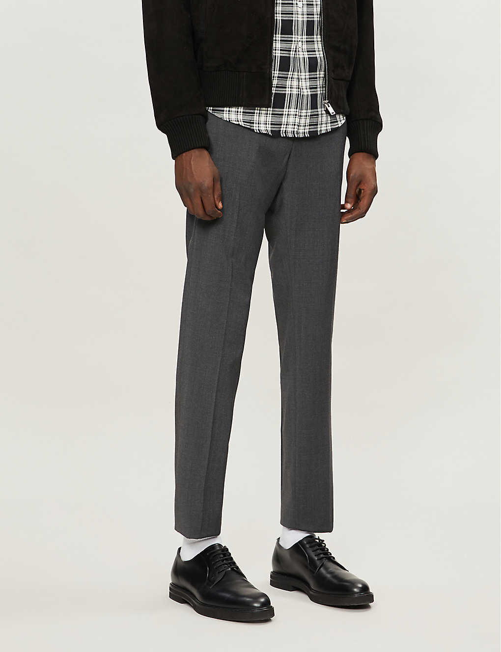 SANDRO: Alpha wool-flannel tapered-leg trousers