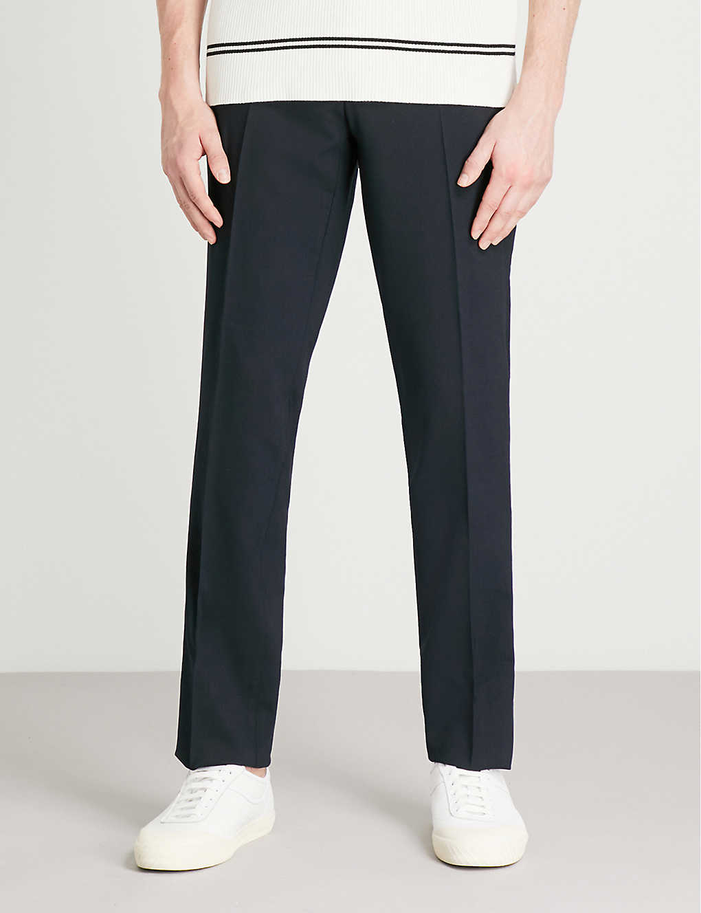 SANDRO: Slim-fit tapered stretch-wool trousers