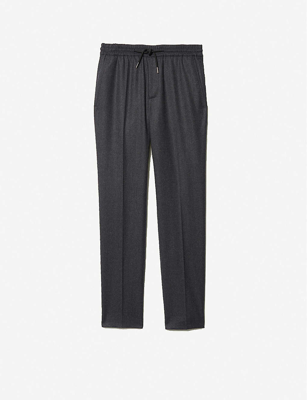 SANDRO: Mid-rise wool-flannel trousers