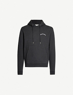SANDRO Letter-embroidered cotton-fleece hoody