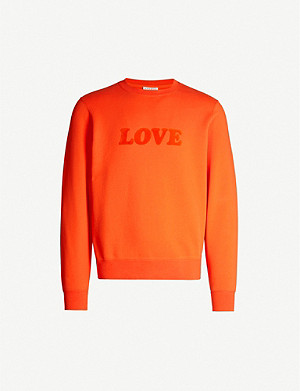 SANDRO Love velvet appliqu? lettering cotton-jersey sweatshirt