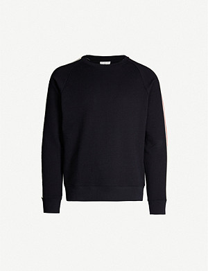 SANDRO Striped-trim cotton-blend sweatshirt