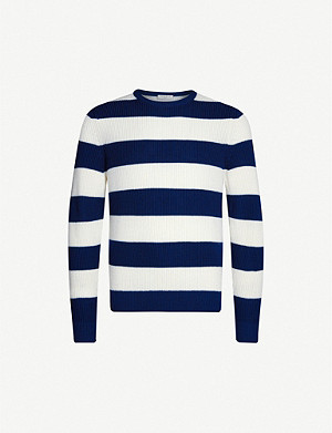 SANDRO Striped wool-blend jumper