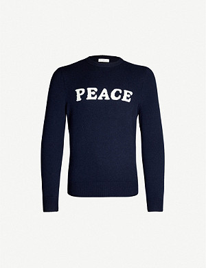 SANDRO Peace-intarsia wool and cashmere-blend jumper