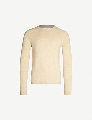SANDRO Crewneck wool and camel-blend jumper