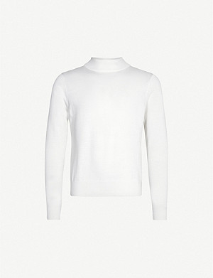SANDRO Funnel neck wool-blend jumper