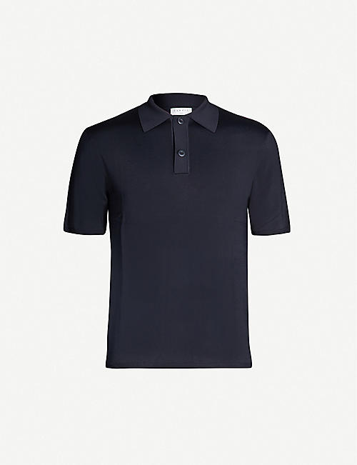 SANDRO Fine stretch-knit polo shirt