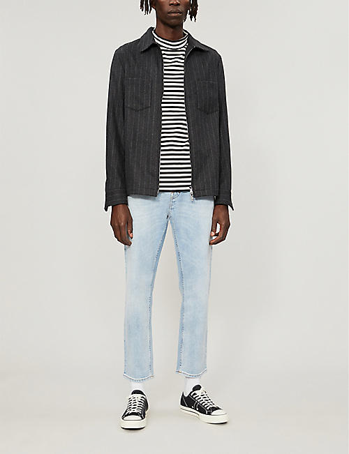 SANDRO Striped cotton-jersey top