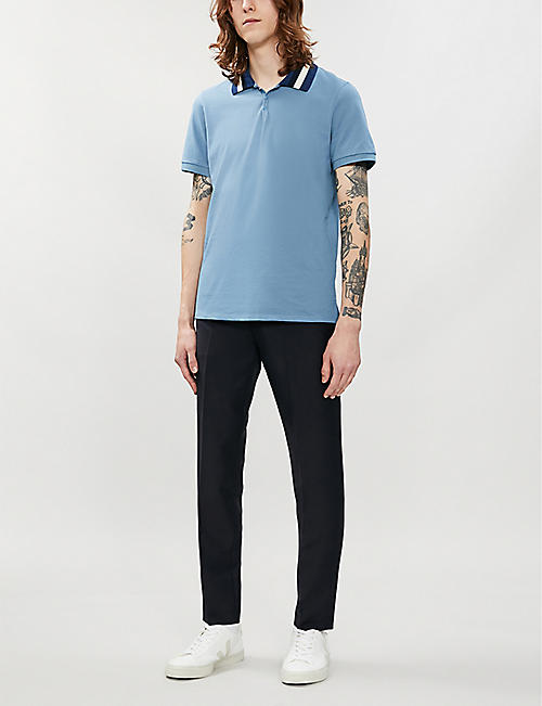 SANDRO Striped-collar cotton-piqué polo shirt