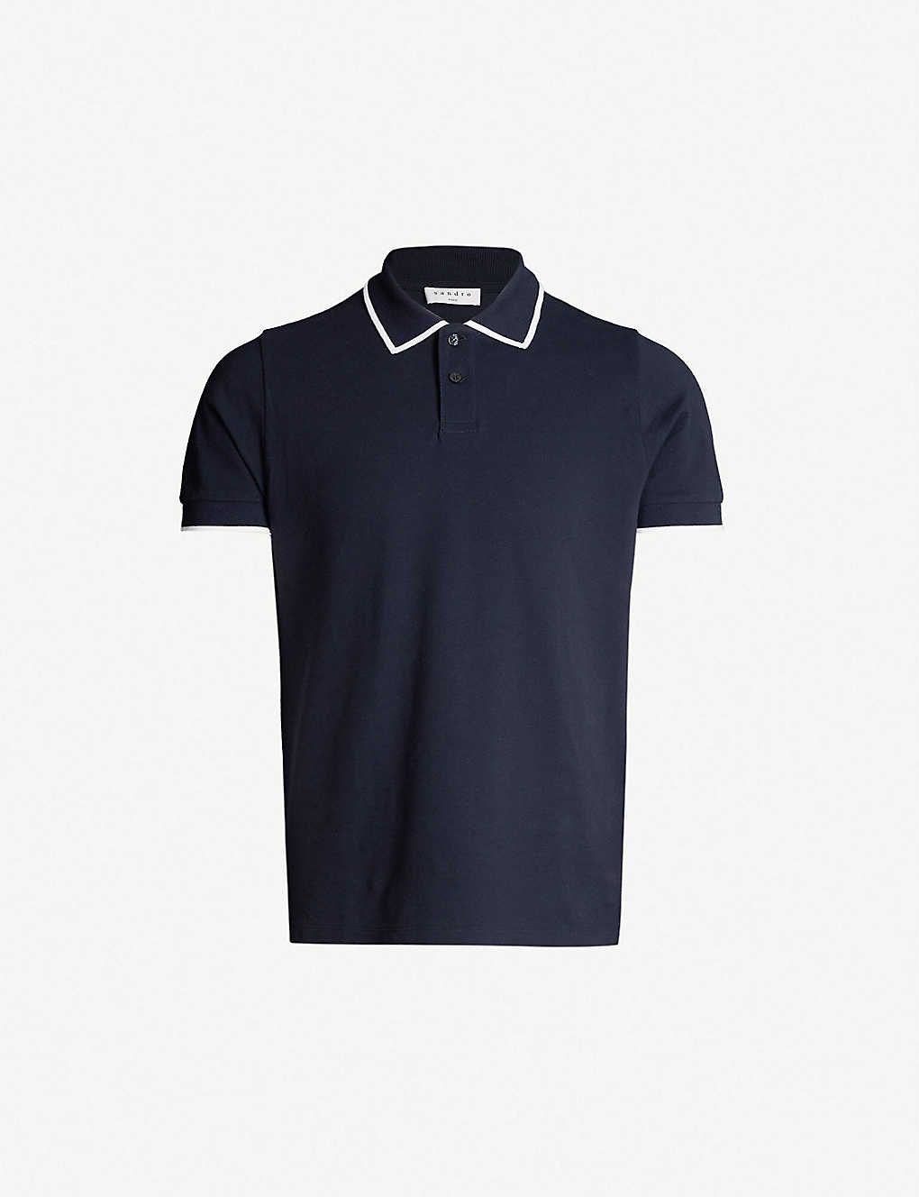 739d8cf8 SANDRO - Contrast trim collar cotton-piqué polo shirt | Selfridges.com