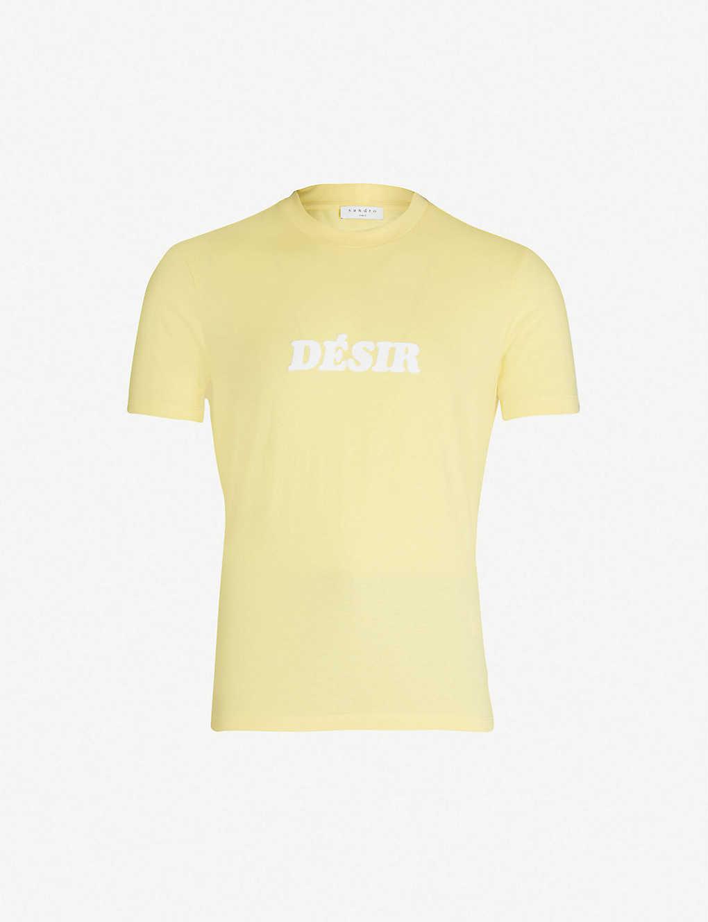 9e2c217e009 SANDRO - Slogan cotton-jersey T-shirt | Selfridges.com