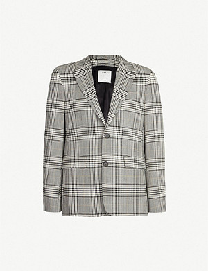 SANDRO Wales check regular-fit wool blazer