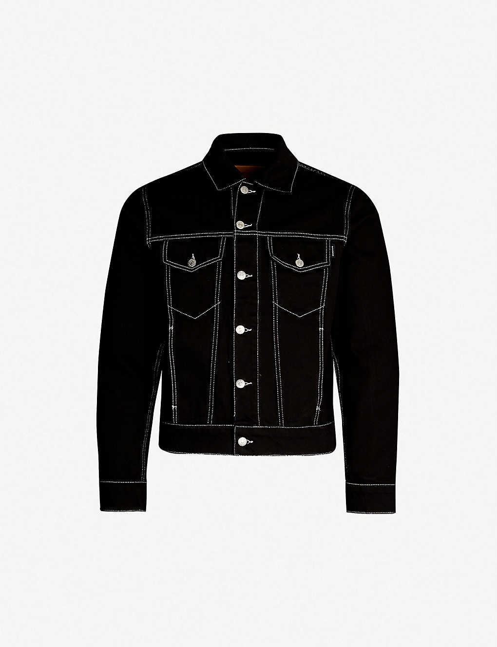 c6ae73585018 SANDRO - Contrast stitch regular-fit denim jacket | Selfridges.com