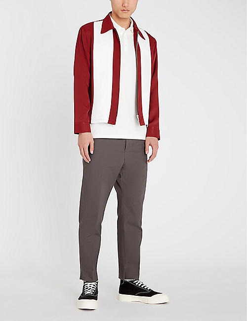 SANDRO Contrast panel bowling jacket