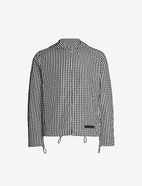 SANDRO Gingham hooded shell jacket