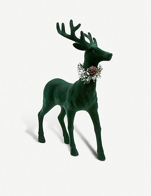 paperchase green stag with wreath christmas decoration 45cm