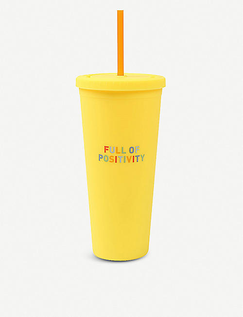 PAPERCHASE Full of Positivity-print reusable cup and straw 700ml