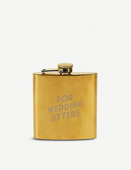 PAPERCHASE For Wedding Jitters gold-tone stainless steel hip flask 170ml