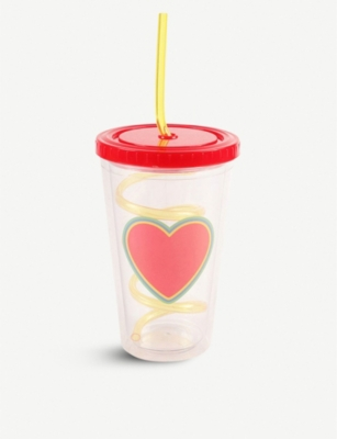 PAPERCHASE Heart-print plastic cup 400ml