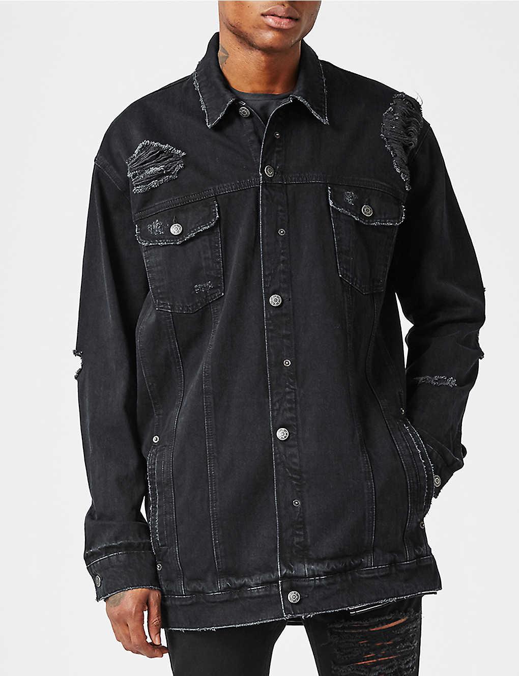 d58565c8d70 TOPMAN - AAA distressed longline denim jacket | Selfridges.com