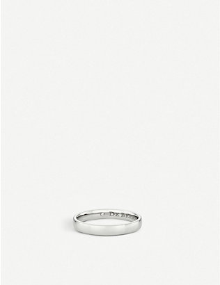 DE BEERS: Wide Court platinum and hidden diamond wedding band