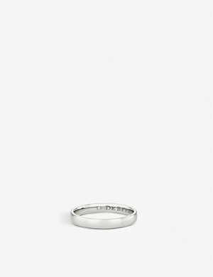 DE BEERS Wide Court platinum and hidden diamond wedding band