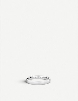 DE BEERS: Wide Court platinum and diamond wedding band