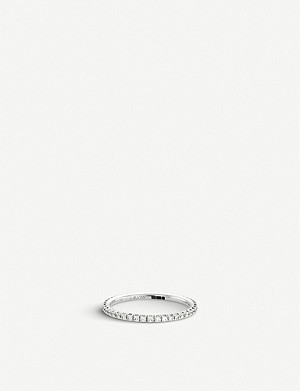 DE BEERS Aura white-gold and diamond band ring